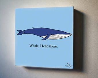 """Sea Inspirations: Blue Whale Hello 8""""x8"""" Canvas Reproduction"""