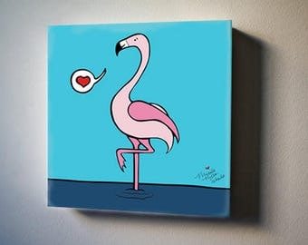 "Sea Inspirations: Flamingo Love 8""x8"" Canvas Reproduction"