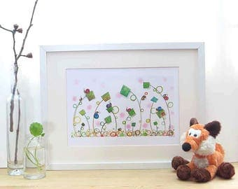 spring, snail gift, baby shower gift, whimsical wall art, rainbow nursery, children room decor, garden art print, etsybaby,