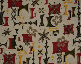 Upholstery FABRIC ATOMIC Lounge barkcloth Robert Kaufman googie  style fabric remnant