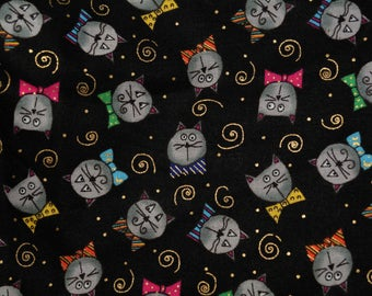 Cat fabric animated cats all over Kari Pearson novelty quilting cotton for  SSI