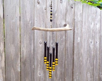 Black and Yellow Glass Wind Chime with Oregon Driftwood, Glass Chimes, Black and Yellow WindChime , Bumblebee Colors