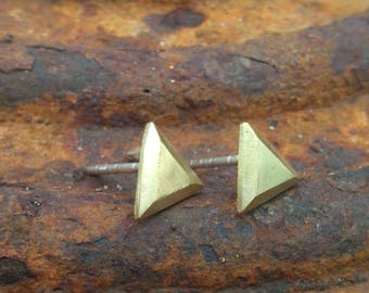 Faceted Brass Equilateral Triangle stud earrings with Sterling Silver posts and backs