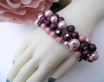 Dusky Pink and Plum Pearl Bracelet, Cluster Bracelet, Chunky Bracelet, Pink Jewelry, Gift For Her, Pink Bracelet, Plum Colour, Ready to Ship