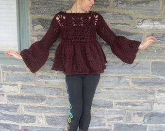BELL SLEEVE SWEATER/Knit sweater/ womens sweater/ womens knit sweater/cropped sweater/Flared crop sweater, New!!