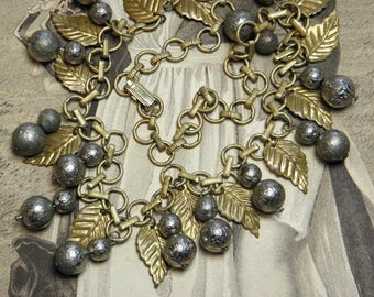 Vintage Necklace Metal Leaf and Ball Beads Chain
