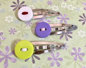 Colorful Button Hair Clips, Cute Hair Accessories, Girl Hair Clip, Baby Shower Gift, Handmade Barrette , Christmas Gift
