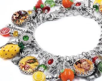 Fruit Jewelry -  Fruit Bracelet - Carmen Miranda Jewelry - Glass Fruit Beads - Banana - Cherry - Pear - Orange