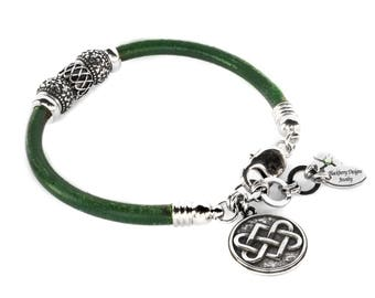 Celtic Knot Irish Leather Wrap Bracelet with Shamrock Beads in Stainless Steel with choice of leather color