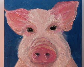 Close Up Pig Face on Blue Original Oil Painting Daily Painting