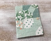 COMPOSITION Notebook Book Cover - quilted fabric collage - feedback fabric