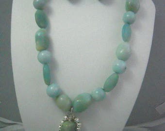 Amazonite Necklace, Earrings, and Pendant Set