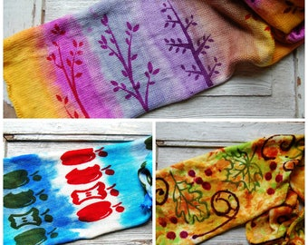 Stenciled SINGLE sock blank Club- July,August and September- Autumn Abundance