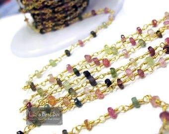 Summer SALEabration - Gemstone Rosary Chain, Natural Gemstones, Multi Tourmaline Rosary Chain, By The Foot, Handmade Chain for Making Jewelr