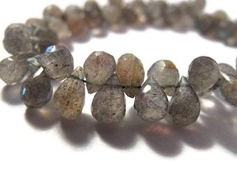 Natural Labradorite Beads, Tiny Gemstone Briolettes, 4 Inch Strand, Natural Labradorite 5mm x 3mm - 8mm x 5mm (B-Lab3e)