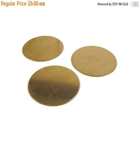 Memorial Day SALE - Three Gold Stamping Disc Charm, Brass, Round 45mm Blank Discs, Flat Shiny Charms for Making Jewelry, Jewelry Supplies