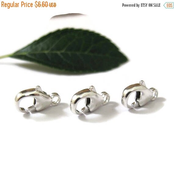 Summer SALEabration - 3 Sterling Clasps, Medium Sized, 11mm Lobster Claws, Set of 3 Silver Clasps, Silver Findings, Jewelry Findings (F 118s