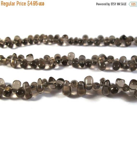 Summer SALEabration - Natural Smoky Quartz Briolette Beads, Smooth & Polished Gemstone Beads, Jewelry Supplies, 6.5 Inch Strand (S-Sq5)