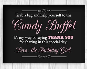 Grab a Bag and Help Yourself to the Candy Buffet 5x7, 8x10 Black and Light Pink Printable Birthday Girl Sign - Instant Download