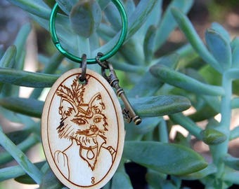 Wood Keychain Mrs. Fox Keychain Wooden Keychain Animal Keychain Royal Fox Keyring