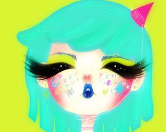 Happy- 5 x 7 Print - illustration kawaii harajuku manga girl big eyes birthday hat green cat stars anime