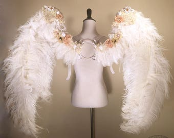 Romantic Fluffy White Feather Angel Wings Embellished with Handmade Flowers