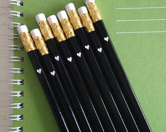 black pencils with white foil heart - set of 100