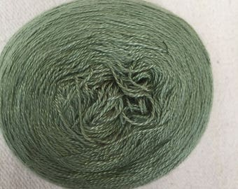 Silk Yarn 100g Hand Dyed Lace weight - Kale Green