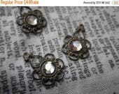 On Sale 18% Off Floral Filigree with Preciosa Crystal Lagoon Chatons Brass Ox Drops 4 Pcs