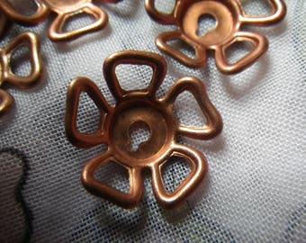 Copper Coated Steel Open Bead Caps or Flower Stampings 18mm Diameter 6 Pcs