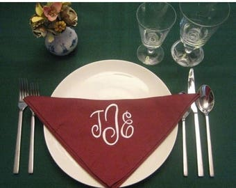ON SALE 12 Monogrammed dinner napkins in cranberry.fFREE shipping in the Us