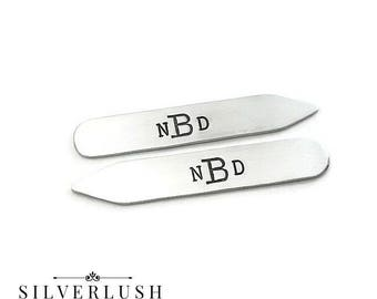 Collar Stays - Aluminum Collar Stays - Monogrammed Gift for Men - Gift for Dad - Hand Stamped Gifts for Men