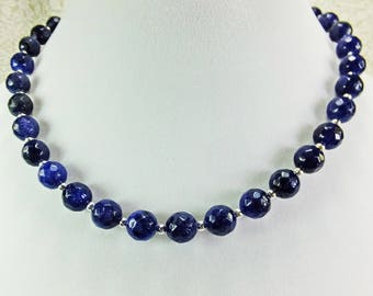 Lovely Dark Blue Fasceted Lapis Stone Beaded Necklace