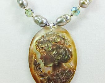 Cameo Carved into White Shell with Freshwater Pearls, Glass Beads and Tiny Silver Plated Spacer Beads Necklace