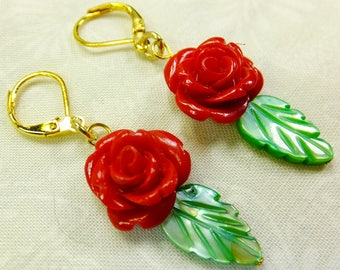 Rose Lover Earrings Bright Red Resin Rose Beads with Green Leaf Shell Beads Dangle Lever Back Ear Wires