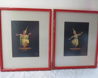 Thai Dancers Hand Painted Framed Mid Century Jewels