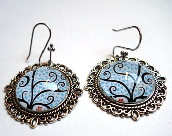 The blue hearts BOV269A tree earrings