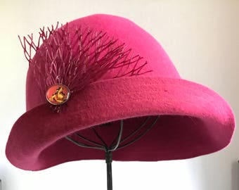 Red raspberry cloche hat for women 1920's style-for your Valentine, velour felt cloche hat for women, HANDMADE by Anne DePasquale NYC