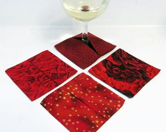 Wine Glass Coasters Red - Set of 4