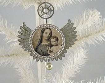 RESERVED4KELLY - Christmas Madonna - metal angel wings ornament - NO079