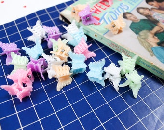 90's Rainbow Pastel Butterfly Clips with Clear Vinyl Keychain Pouch