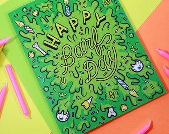 Happy Barfday Greeting Card - Illustrated Birthday Card, Lowbrow Art, Monster, Puke, Barf, Vomit, Slime