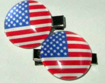 American Flag hair clips set of 2 Red White and Blue American Flag Hair clips Patriotic Hair Accessories