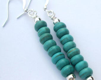 Pierced Earrings petite turquoise magnesite stone stack pierced dangle handmade earrings Gift For Her by Ziporgiabella