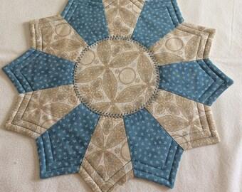 Beige paisletband blue Candlemat; Miniature Quilt; Small Quilt;Table mat,