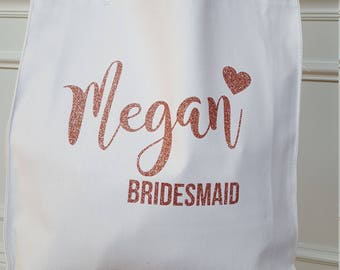 Personalized  Bridesmaid tote bag Bridesmaids gift Maid of Honor flower girl Bride Rose gold Glitter