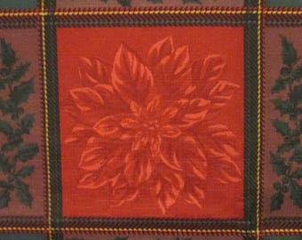 """Vintage Christmas Tablecloth - Dark Red and Green Synthetic Blend - Holly and Poinsettias - 42"""" by 60"""""""