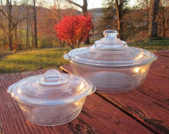 Two Vintage Etched Glass Casseroles - Pale Aqua Fire King - Philbe Lidded Dishes - 1937