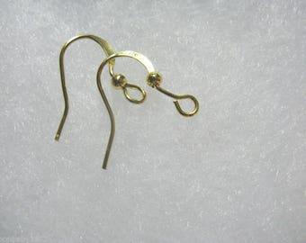 Earwire Ball and Coil Fishhook Gold Plated 25 pair