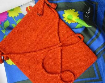 Orange Glass Seed Beaded Italy 1980s Crossbody Purse Handbags  Silk Scarf